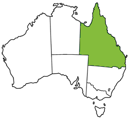 Map of Australia highlighting Queensland